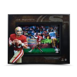 "Joe Montana Signed ""Prolific Passer"" 16x20x2 Custom Framed Shadow Box (UDA COA)"