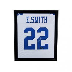 Emmitt Smith Signed Cowboys 23x27 Custom Framed Jersey (Smith Hologram)