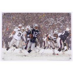 "Tom Brady Signed LE Patriots ""2001 AFC Playoff"" 16x23 Glass Shadowbox (Steiner COA  TriStar Hologram"