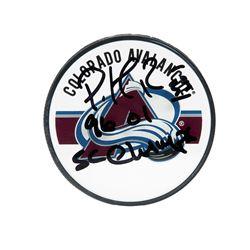 """Patrick Roy Signed Avalanche Logo Hockey Puck Inscribed """"96 01 SC Champ"""" (UDA COA)"""
