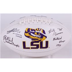 Billy Cannon, Justin Vincent  Jacob Hester Signed LSU Logo Football with National Championship Year