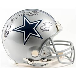 Emmitt Smith, Troy Aikman  Michael Irvin Signed Cowboys Full-Size Authentic Pro-Line Helmet Inscribe