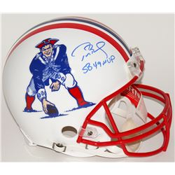 "Tom Brady Signed LE Patriots Throwback Full-Size Authentic Pro-Line Helmet Inscribed ""SB 49 MVP"" (Tr"