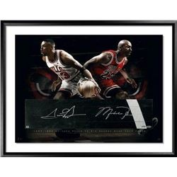 Michael Jordan  Scottie Pippen Signed Bulls LE 24x36 Custom Framed Game-Used Floor Display (UDA COA)