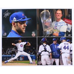 Lot of (4) Signed Cubs 8x10 Photos with (1) Chris Bosio, (1) John Mallee, (1) Justin Grimm  (1) Matt