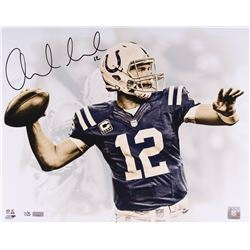 """Andrew Luck Signed LE Colts """"White Out"""" 16x20 Photo (Panini COA)"""