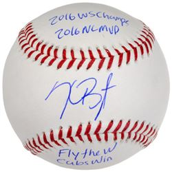 """Kris Bryant Signed LE 2016 World Series Champ Baseball Inscribed """"16 WS CHAMPS,"""" """"16 NL MVP,"""" """"FLY T"""
