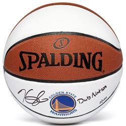 """Kevin Durant Signed Limited Edition Warriors Logo Basketball Inscribed """"Dub Nation"""" #35/135 (Panini"""