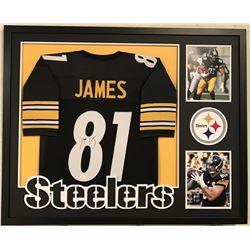 "Jesse James Signed Steelers 34"" x 42"" Custom Framed Jersey (JSA COA)"
