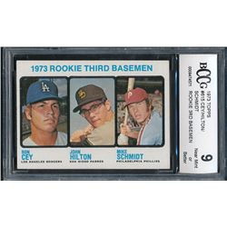 1973 Topps #615 Rookie Third Basemen Mike Schmidt RC (BCCG 9)
