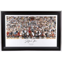 "Michael Jordan Signed Bulls 27x41 Custom Framed ""The Last Shot"" Display (UDA COA)"