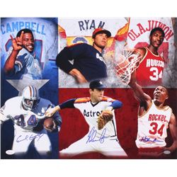 Hall of Famers 16x20 Photo Signed by (3) with Nolan Ryan, Earl Campbell  Hakeem Olajuwon (JSA COA  N