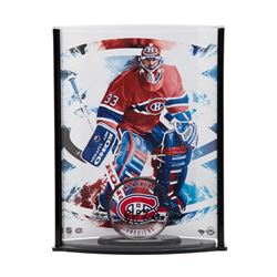 Patrick Roy Signed Acrylic Montreal Canadiens Hockey Puck with Photo Curve Display (UDA COA)