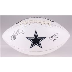 "Troy Aikman Signed Cowboys Logo Football Inscribed ""SB XXVII MVP"" (Aikman Hologram)"