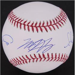 Jacob deGrom, Matt Harvey,  Noah Syndergaard Signed OML Baseball (MLB Hologram)