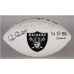 "Jim Plunkett Signed Raiders Logo Football Inscribed ""S.B. XV-XVIII Champ"" (Beckett COA)"