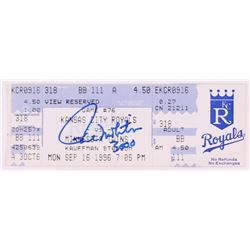 "Paul Molitor Signed 1996 Royals vs. Twins Ticket Stub Inscribed ""3000"" (FSC COA)"