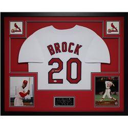 "Lou Brock Signed Cardinals 35"" x 43"" Custom Framed Jersey (JSA COA)"