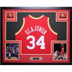Hakeem Olajuwon Signed Rockets 35x43 Custom Framed Jersey (JSA COA)