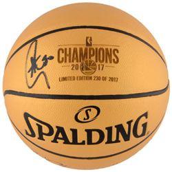 Stephen Curry Signed Warriors 2017 NBA Champions Logo Basketball (Fanatics Hologram)