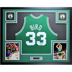 """Larry Bird Signed Celtics 35"""" x 43"""" Custom Framed Jersey (PSA COA  Bird Hologram)"""