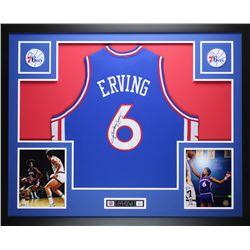 Julius Erving Signed 76ers 35  x 43  Custom Framed Jersey (JSA COA)