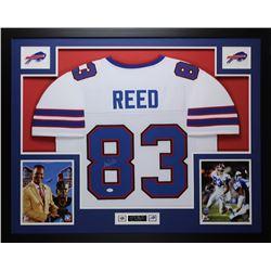 """Andre Reed Signed Bills 35"""" x 43"""" Custom Framed Jersey (JSA COA)"""
