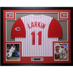 "Barry Larkin Signed Reds 35"" x 43"" Custom Framed Jersey (JSA COA)"