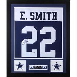 """Emmitt Smith Signed Cowboys 35"""" x 43"""" Custom Framed Jersey (PSA COA)"""