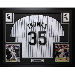 Frank Thomas Signed White Sox 35  x 43  Custom Framed Jersey (Leaf COA)