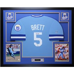 George Brett Signed Royals 35  x 43  Custom Framed Jersey Inscribed  HOF 99  (Beckett COA)
