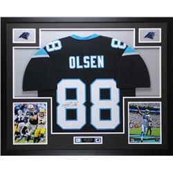 "Greg Olsen Signed Panthers 35"" x 43"" Custom Framed Jersey (JSA COA)"