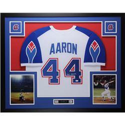 "Hank Aaron Signed Braves Throwback 35"" x 43"" Custom Framed Jersey (JSA COA)"