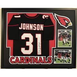 David Johnson Signed Cardinals 34  x 42  Custom Framed Jersey Display (JSA COA)