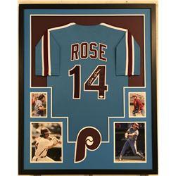 "Pete Rose Signed Phillies 34"" x 42"" Custom Framed Jersey (JSA COA)"
