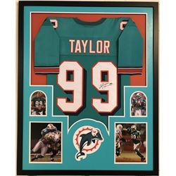 "Jason Taylor Signed Dolphins 35"" x 43"" Custom Framed Jersey (JSA COA)"