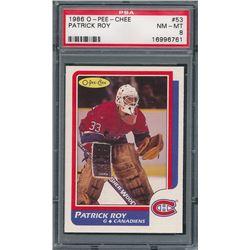 1986-87 O-Pee-Chee #53 Patrick Roy RC (PSA 8)