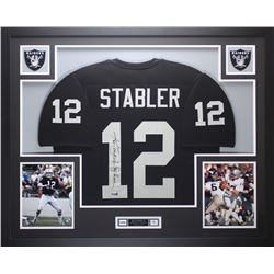 """Ken Stabler Signed Raiders 35"""" x 43"""" Custom Framed Jersey Inscribed """"Snake"""" (Radtke COA  Stabler Hol"""