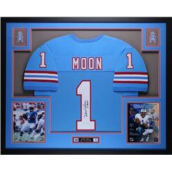 "Warren Moon Signed Oilers 35"" x 43"" Custom Framed Jersey Inscribed ""HOF 06"" (JSA COA)"