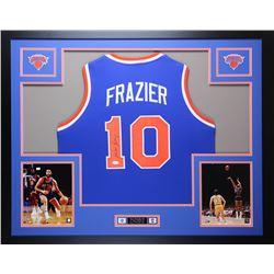 """Walt Frazier Signed Knicks 35"""" x 43"""" Custom Framed Jersey (JSA COA)"""