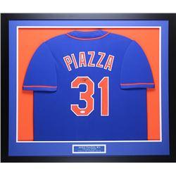Mike Piazza Signed Mets 32x37 Custom Framed Jersey (JSA COA)