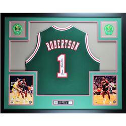 Oscar Robertson Signed Bucks 35x43 Custom Framed Jersey Display (JSA COA)