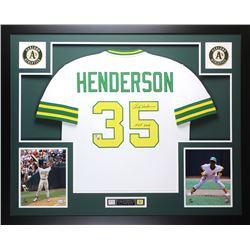 """Rickey Henderson Signed Athletics 35x43 Custom Framed Jersey Inscribed """"HOF 2009"""" (Fanatics Hologram"""