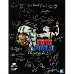"Super Bowl III New York Jets ""I Guarantee It"" 16x20 Photo Signed by (24) With Joe Namath, Al Atkinso"