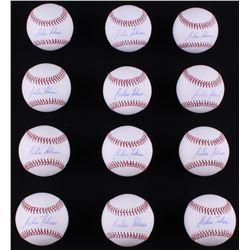 Lot of (12) Julio Teheran Signed OML Baseballs (LOJO COA)