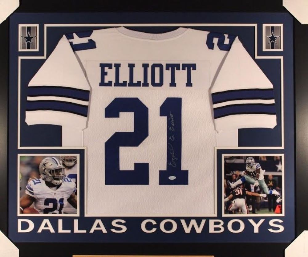 get cheap 3b37e f29ff Ezekiel Elliott Signed Cowboys 44x36 Custom Framed Jersey ...