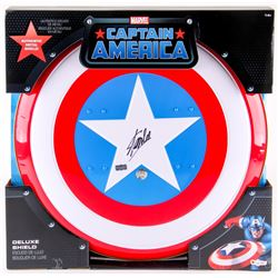 """Stan Lee Signed """"Captain America"""" Marvel Authentic Full-Size Metal Shield (Stan Lee Hologram)"""