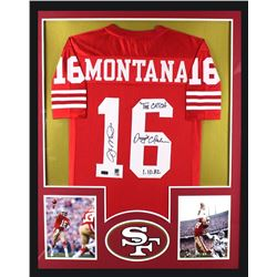 "Joe Montana  Dwight Clark Signed 49ers 34"" x 42"" Custom Framed Jersey Inscribed ""The Catch""  ""1.10.8"