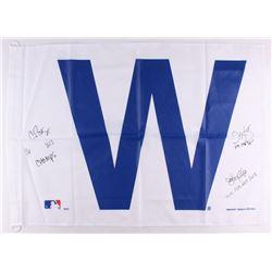 Chris Bosio, John Mallee  Dave Martinez Signed Cubs 28x41 Flag (Schwartz COA)
