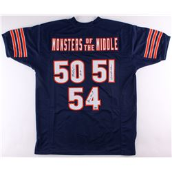 "Dick Butkus, Brian Urlacher  Mike Singletary Signed Bears ""Monsters of the Middle"" Jersey Inscribed"